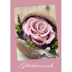 Glückwunsch Rose altrosa
