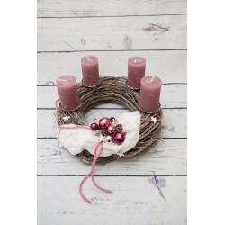 Adventkranz rosa-silber
