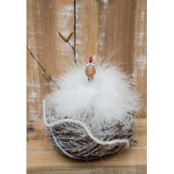 Puschelhuhn im Nest