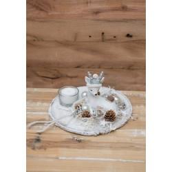 Hirsch Teelicht weiss