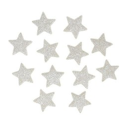 Sterne Glitter cremeweiss 10er Set