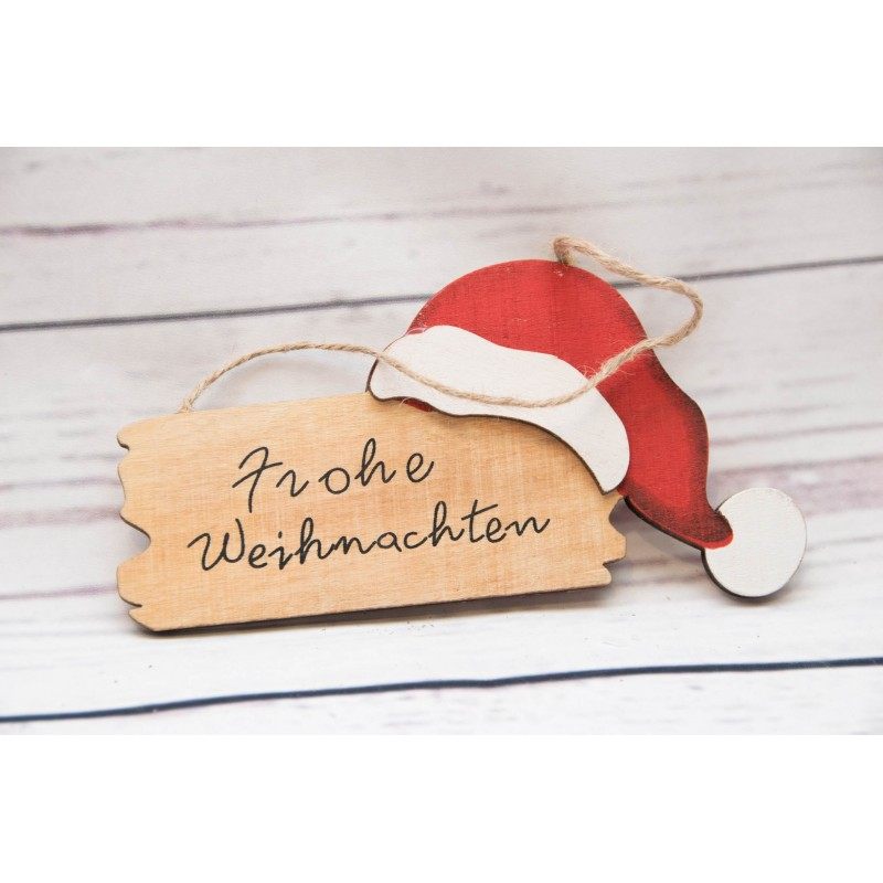 Holzschild Frohe Weihnachten Mütze